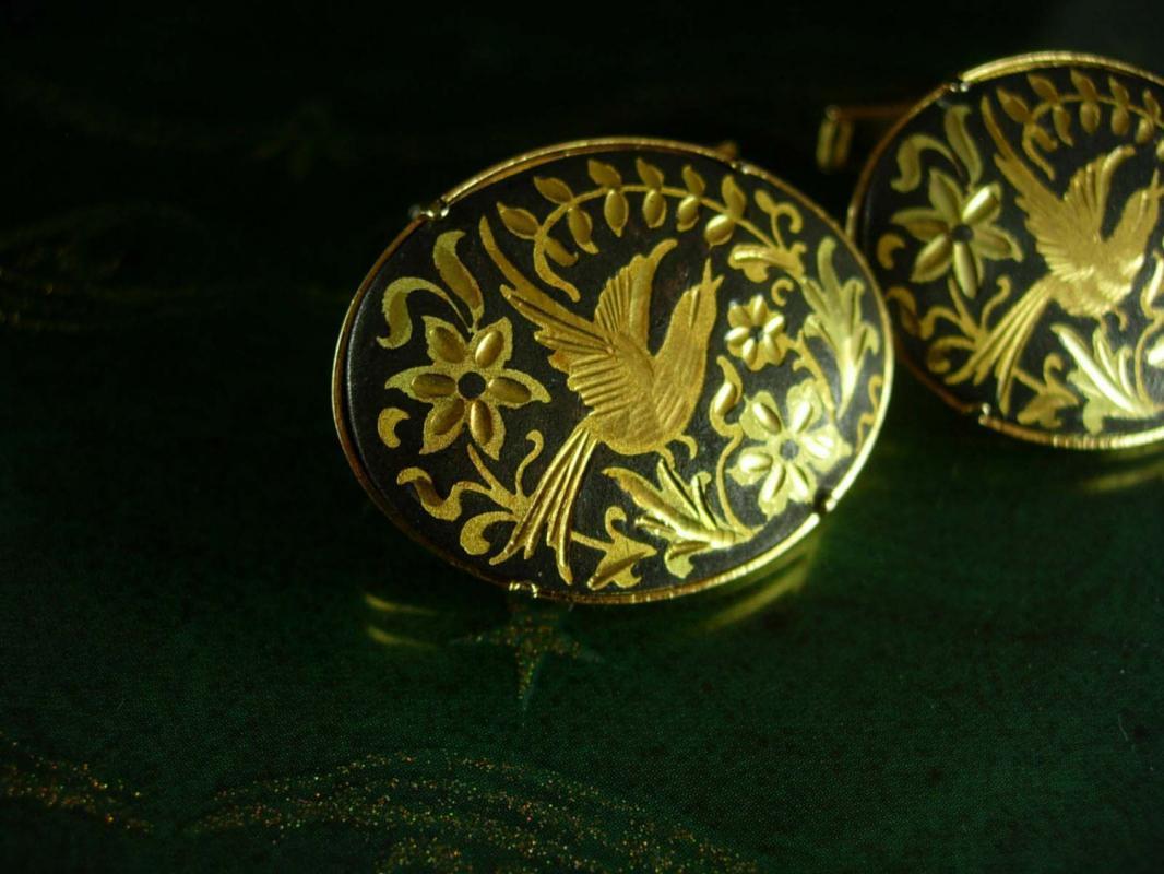 Wedding Dove Cuff links LARGE Elegant Victorian Love bird cufflinks Damascene gold Jewellery Men's 24kt gold kilates wedding gift groom