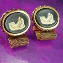 Erotic Cufflinks Female lovers Vintage Mesh Wrap Cufflinks Nude goddess Incolay Masterpiece collection Dante Cuff cameo Accessory