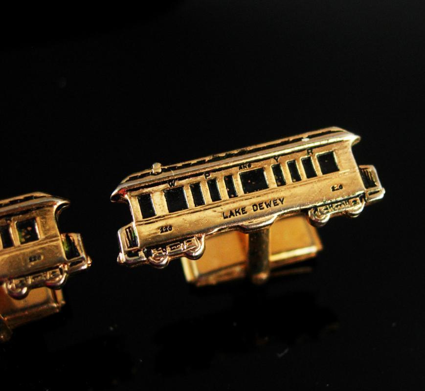 Train cuff links Lake Dewey 220 Cufflinks Vintage Gold Railroad Coach Car Retirement gift washington birthday engineer cool gift for men