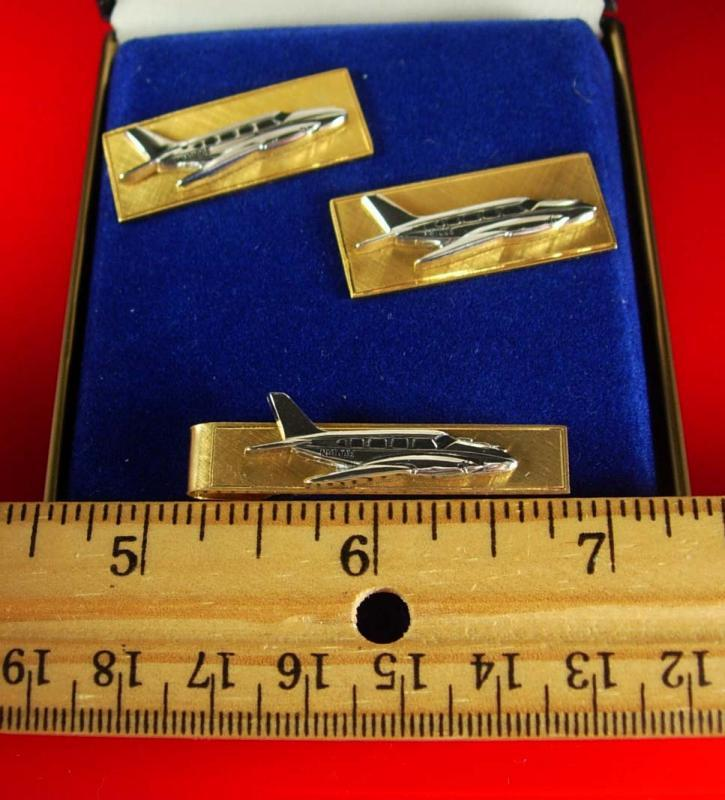 Airplane Cufflinks Tie clip Balfour gold ORIGINAL BOX Aircraft Cufflinks Vintage Set Aerospace Aviation Pilots Piper  mens cool gift Tie bar