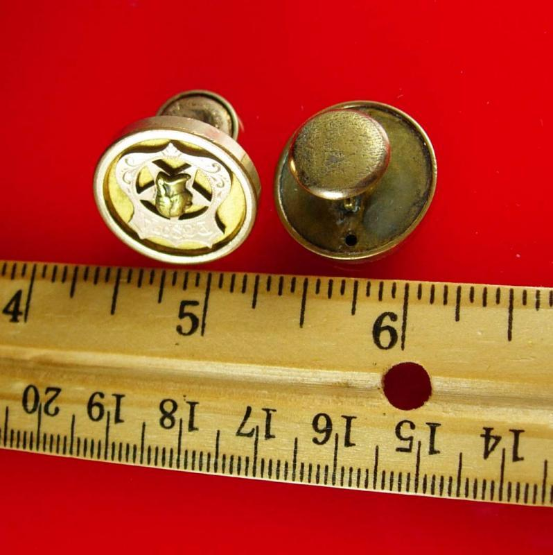 1880s Victorian Cufflinks P.O.S. of A. Fraternity Antique gold  vintage button cuff links Patriotic Order Sons of America masonic freemason