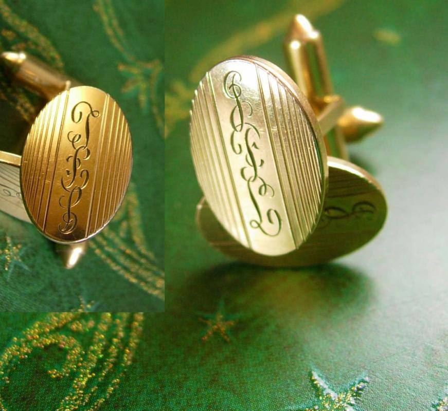 Vintage groom cufflinks Vintage 1920s art deco initial letter Tlb Gfl Krementz anniversary personalized engraved wedding groom gold