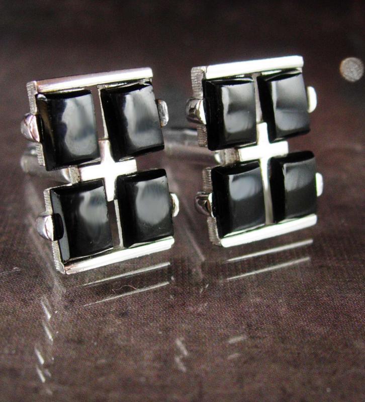 Tuxedo cufflinks Vintage cuff links Black Onyx Silver Cufflinks Signed Shields tuxedo formal wear mens jewelry groom cufflinks