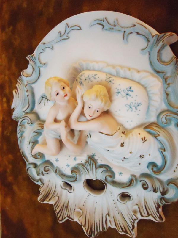 2 Antique Framed Capodimonte plaques Porcelain Velvet padded Victorian Bisque Mother & Angel Child Baby Vintage Italian Baroque Frame