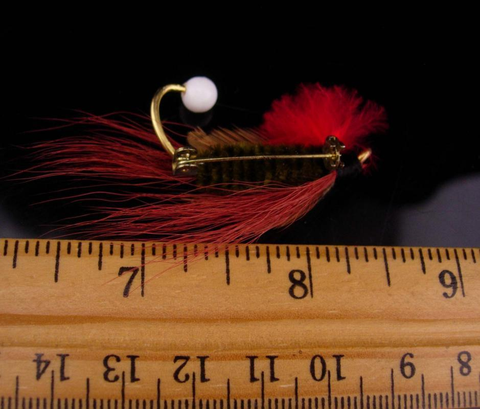 Vintage German hat pin / feather fishing lure / red lapel pin / Germany Hat badge / mens hat accessory / red lapel pin / fisherman gift