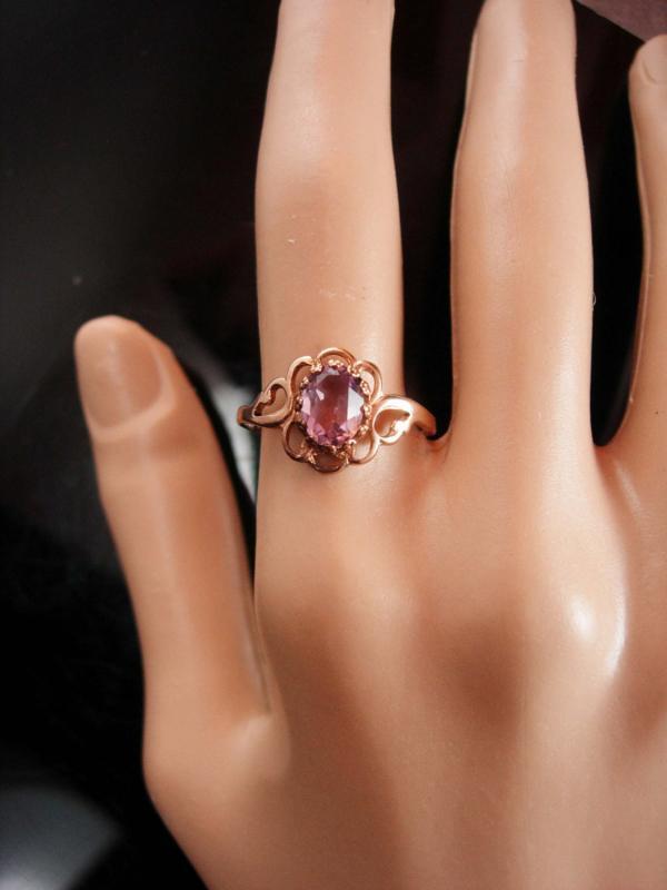 Vintage amethyst ring Rose gold plate size 9 1/2 marked beta February birthstone Ring birthday ring aquarius
