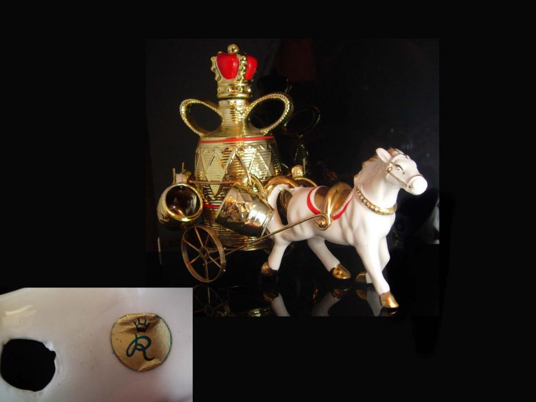 Cinderella Carriage Vintage Signed Decanter Horse carriage porcelain Crown R with shot glasses barware wedding