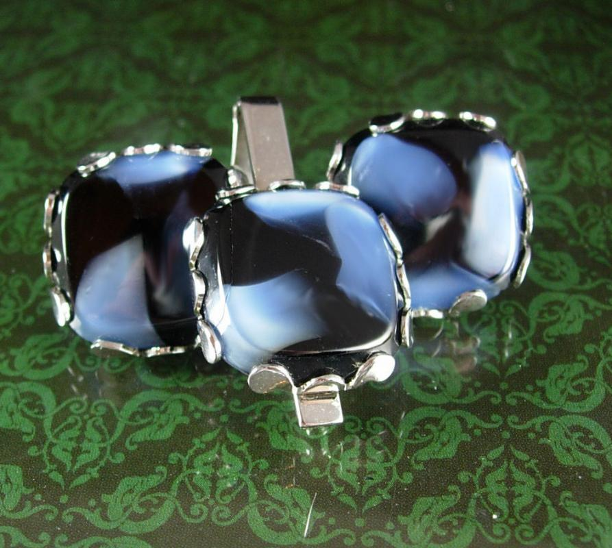 Hauntingly elegant Blue cuff links & Tie clip Vintage Cufflinks Ribbons  mens formal wear silver jewelery Tie bar