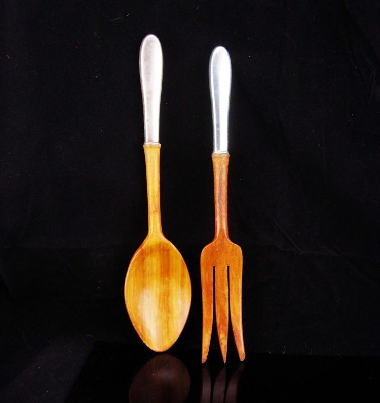 Sterling handle wood spoon / vintage sterling wood fork / kitchen set / sterling untensils / gift for cook / chef salad set