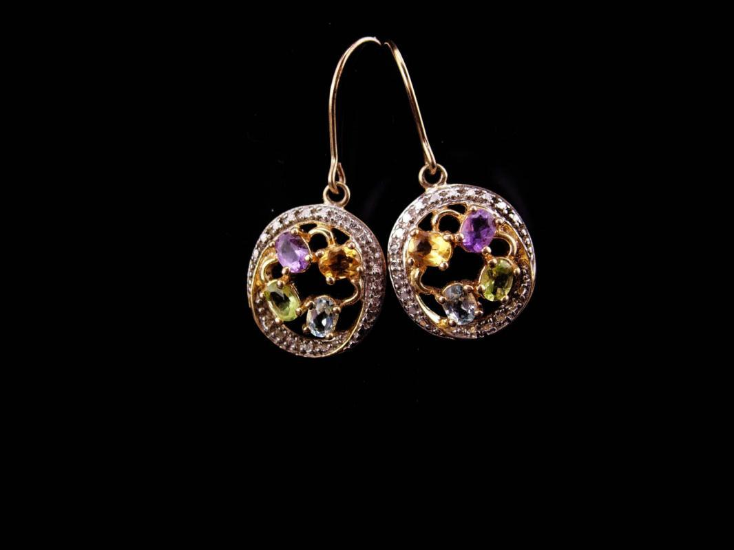 Amethyst Earrings / Sterling citrine drops / gold peridot dangle earrings / blue topaz birthdatone /  Vintage Purple Gemstone Pierced