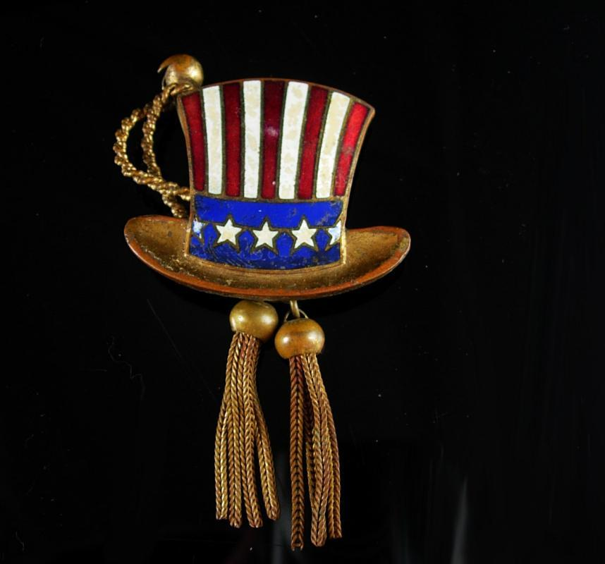 Antique Uncle Sam Brooch Red white blue enamel victorian tassels Republican Presidential Vintage political pin democrat election campaign