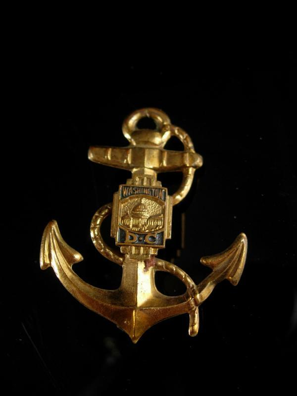 Antique Navy Anchor Brooch LARGE Vintage Military Washington DC C Clasp Patriotic sweetheart nautical sailor pin