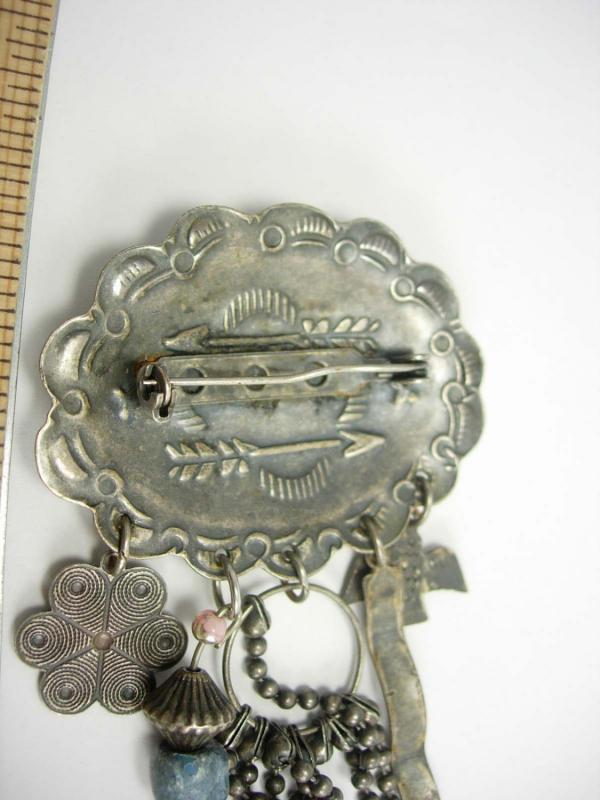Vintage Old Indian Brooch Hand Wrought Southwestern Fetish charm Celebrations Tribal