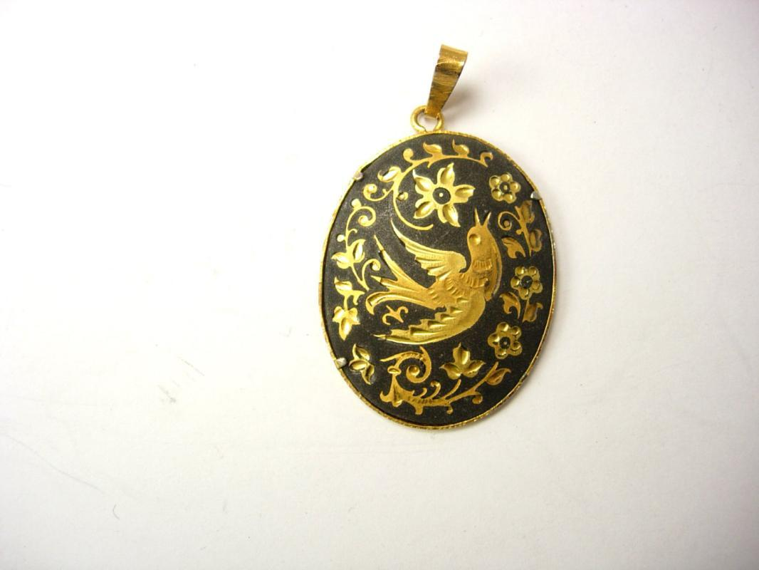 Vintage Damascene Enamel Pendant Victorian Love Sacred dove Bird Design Mothers Day Birthday 24kt gold  kilates