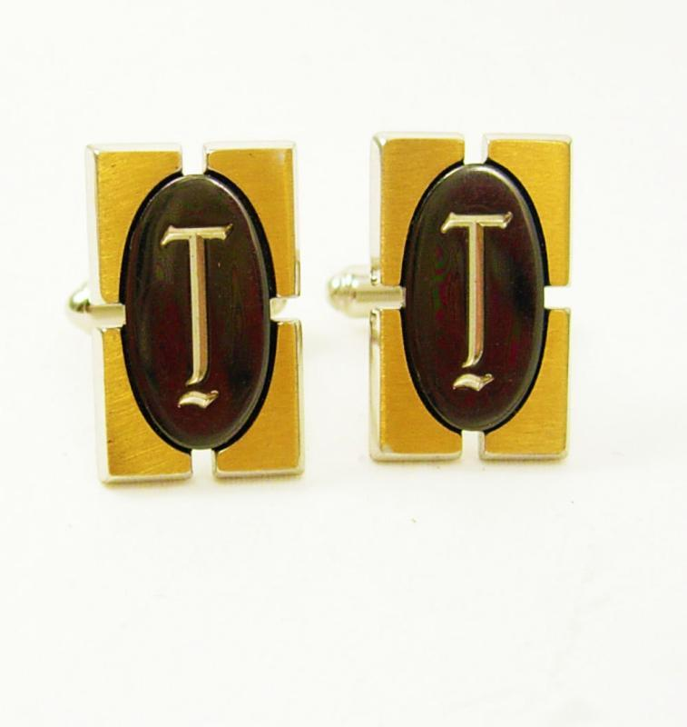 Vintage Signet Hematite Letter T Cufflinks Silvtertone Gold Brushed Birthday Wedding cuff links Hickok USA