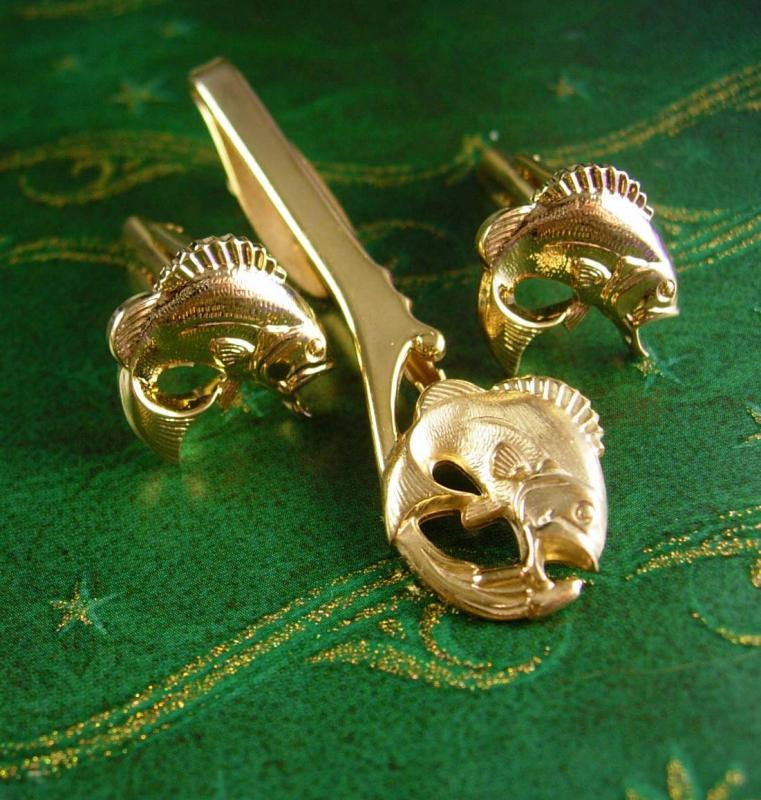Hickok Trophy Fish Cufflinks Vintage Extra Long Tie Clip Set Big Mouth Bass Sportsman Gift cuff links mens cool gift hipster novelty jewerly