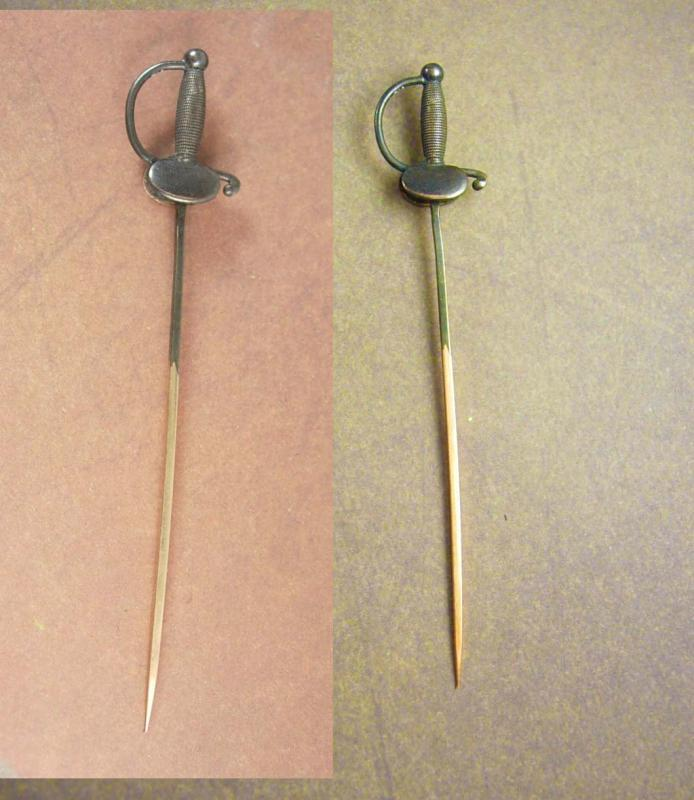 Antique 14kt Gold Civil war Sword Stickpin Clamshell guard officer Scabbard 1.6grams estate jewelry
