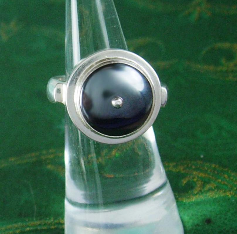 Sterling Hematite talisman Ring Tower design bloodstone healing silver amulet size 4 1/2 7.8 grams