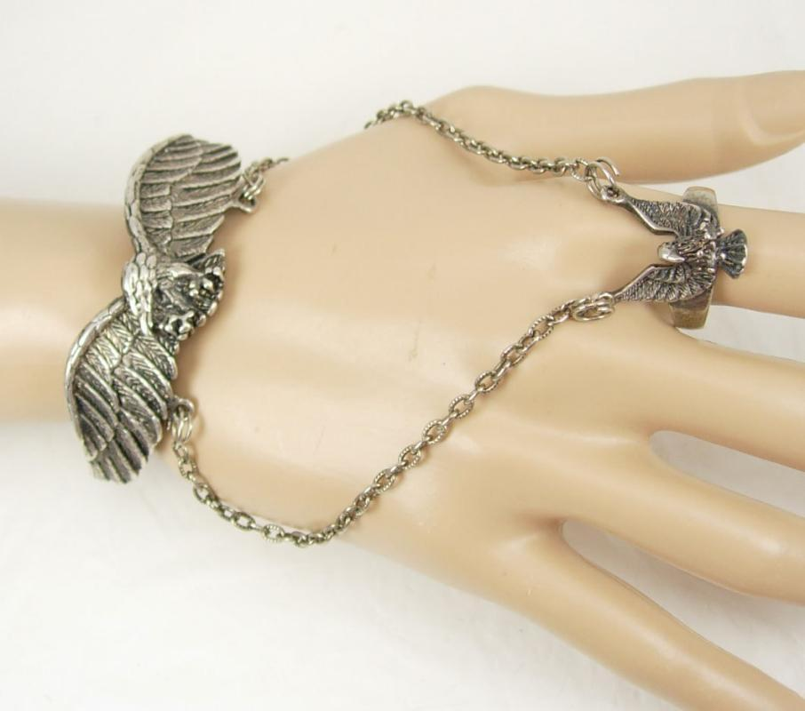 Vintage Bikers Eagle Bracelet Silver huge cuff bracelet diamond cut signed mens womens