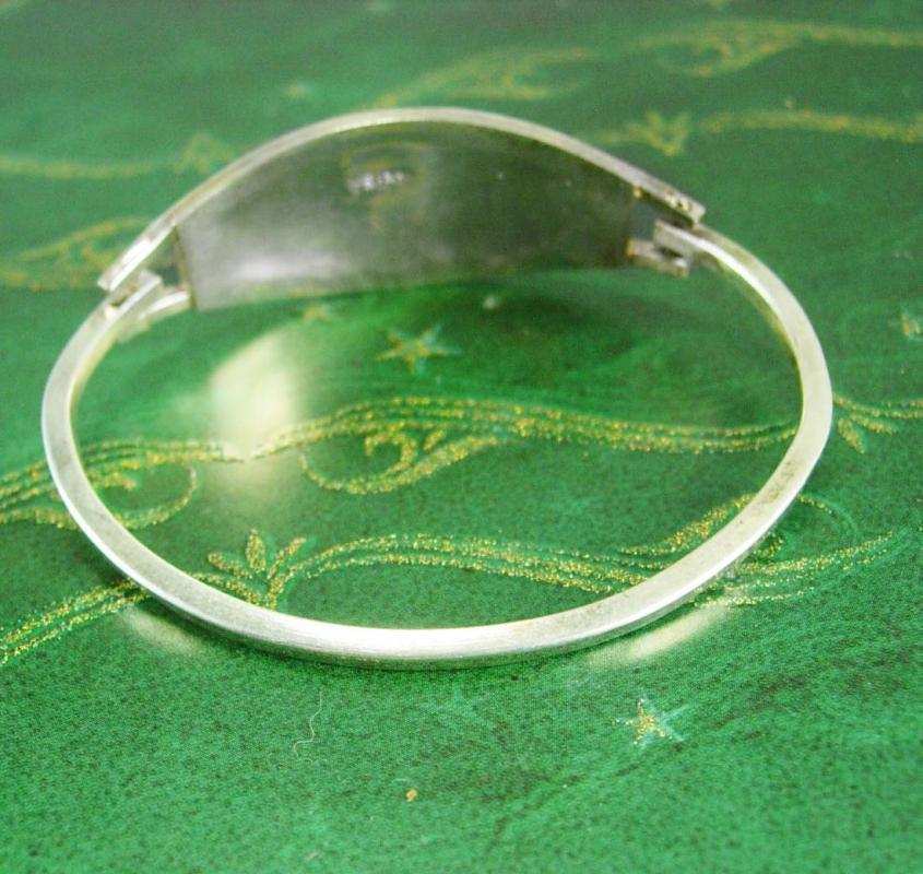 Vintage Silver Bangle Bracelet * Mother of pearl * MOP  mosaic flower  * mexico Jewelry prosperity good luck* Birthday Anniversary Wedding