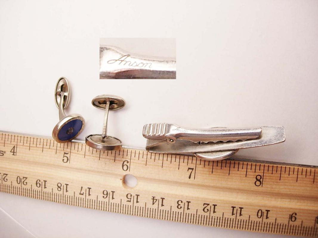 Anson Vintage art deco Paste Cufflinks Bonus star Sapphire Periwinkle Blue  Tie Clip Wedding Business Tie bar