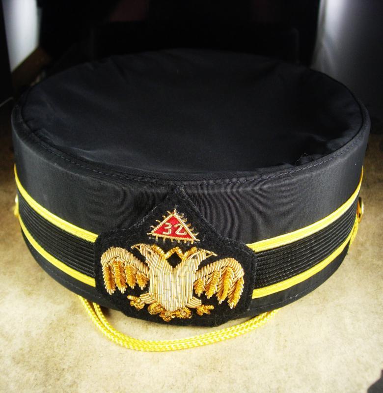 Masonic 32nd Degree hat Scottish Rite Cap Masonic hat Size 7 1/8 gold bullion emblem D Turrin co mens Black Hat scottish rite hat