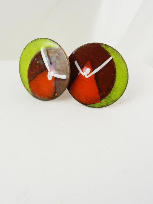 Copper Seagull Cufflinks Vintage Enamel large Abstract Artist retro colorful mens jewelry Red Green