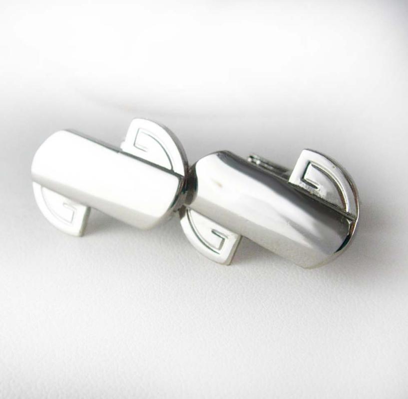 Greek Key Cufflinks Vintage Modernist Men's Women's silver cuff links Shirt Accessory