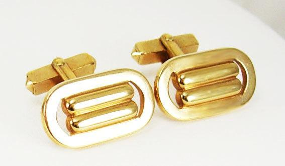 Vintage Goldtone Paperclip Cufflinks Buckle Industrial Retro Deco Birthday Business Wedding Signed Swank