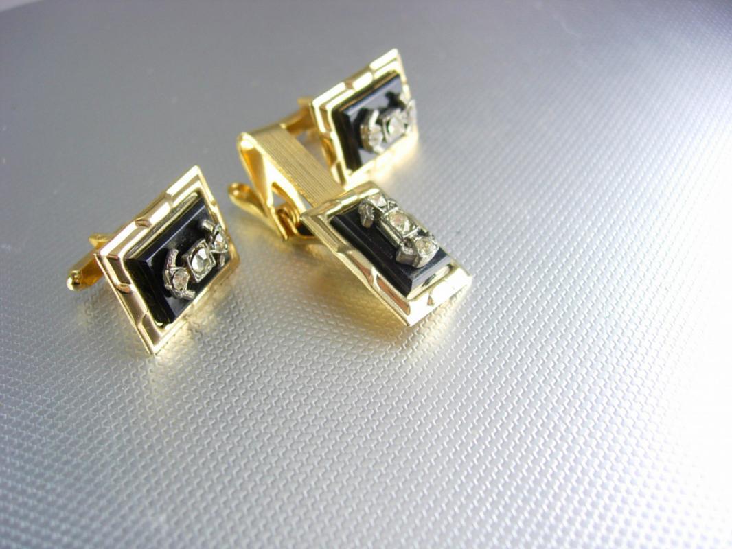 Vintage Gold Rhinestone cufflinks tieclip set black insignia wedding groom gift formal wear anniversary present tie clip cuff links