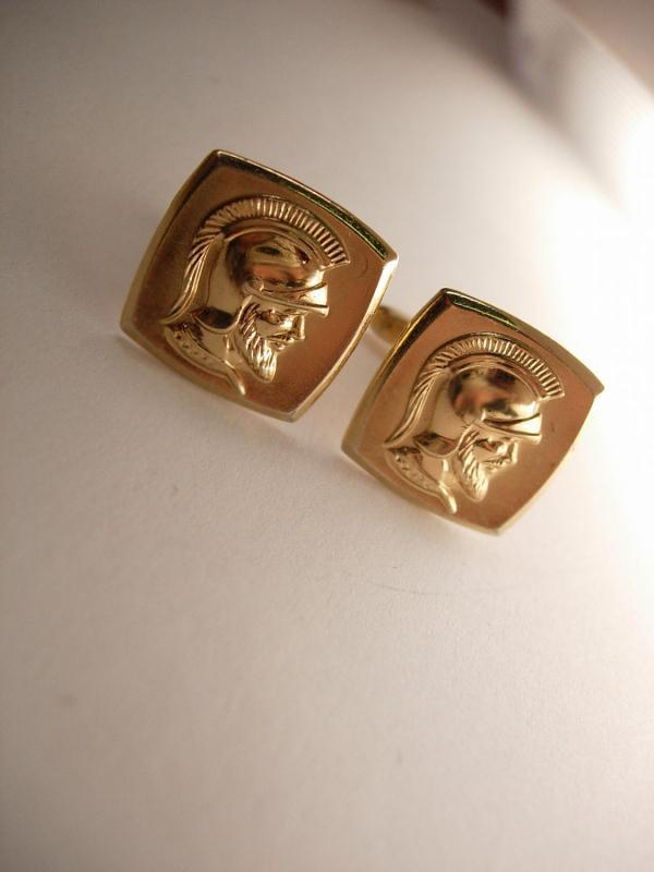 HIckock Medieval Vintage Cameo Cufflinks Gold filled Roman Soldier Wedding Businessman