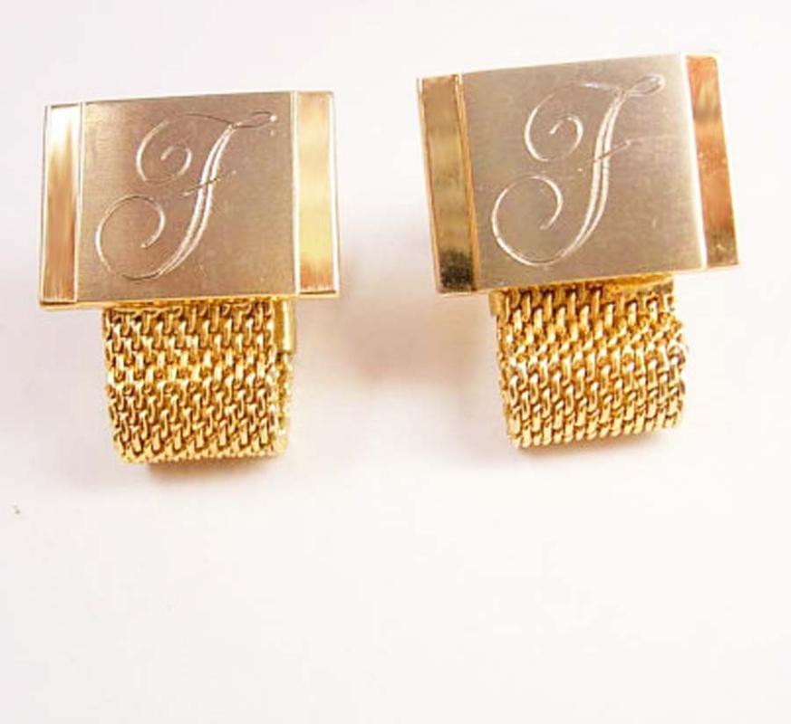 Script Wrap Mesh Cufflinks Initial F Vintage Letter gold personalized mens gift  Monogram 2 Tone Hickok Wedding engraved Fathers Day
