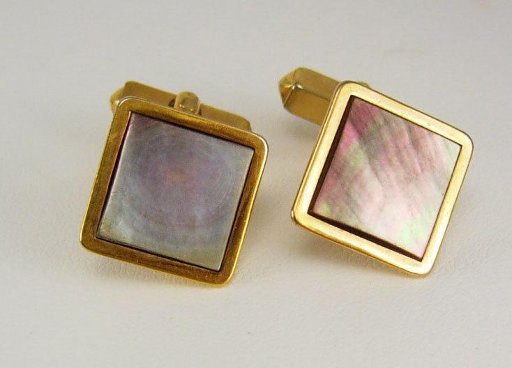 Vintage wedding cuff links Square Abalone formal wear Cufflinks Goldtone Birthday Wedding Business Signed Swank estate mens jewelry