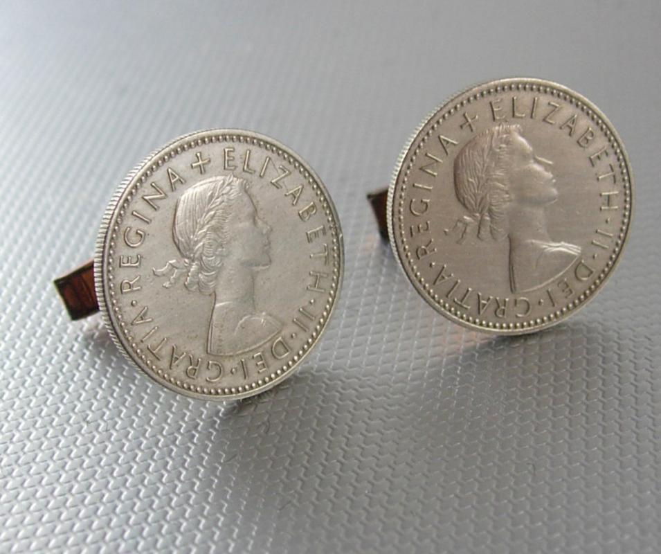 1957 silver coin cufflinks Elizabeth 11 Dei Gratia regina Sixpence