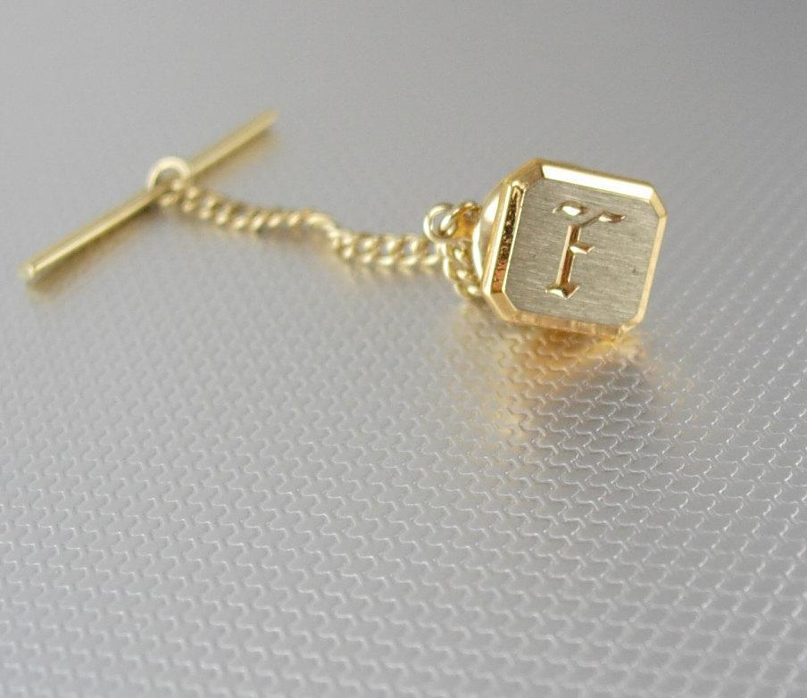 Swank Letter F Tie Tack with Chain Gold Filled Diamond Cut Vintage Two Tone Monogram Original Box