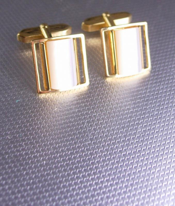Wedding jewelry Vintage Mother of pearl gold plated cufflinks father of the bride gift groom tuxedo formal wear jewellery