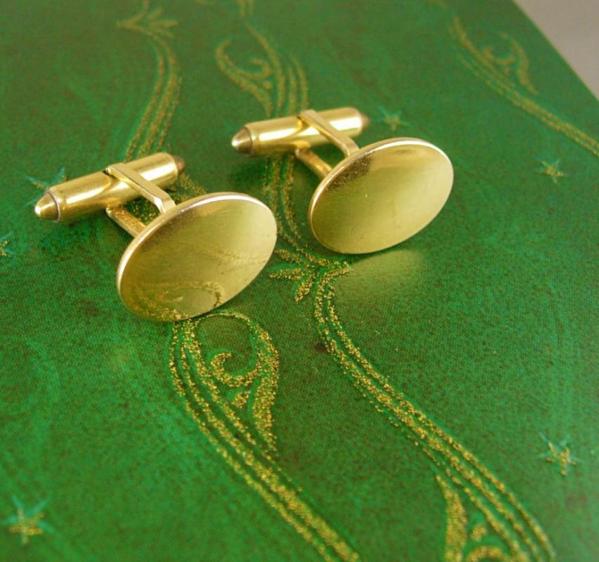 Krementz Gold Filled Cufflinks Engravable Signet Blank Patented Bullet ends
