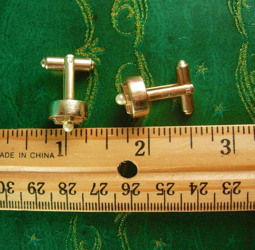 3D Gold jewish STAR Cufflinks Vintage Pearl  Unisex Cuff Accessory Decorative sheriff
