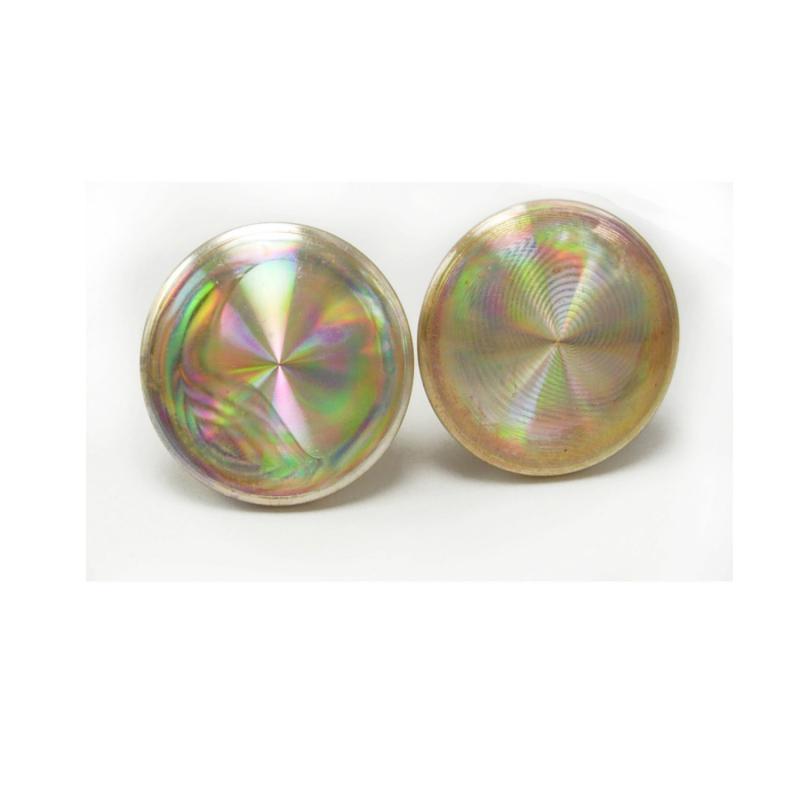 Hypnotic Vintage Holograph Iridescent Cufflinks CD hypnotherapist gift psychiatrist disco era cuff links