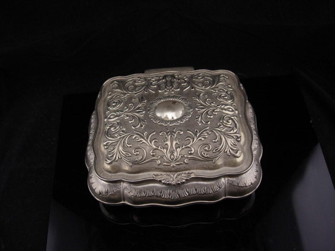 Victorian box / jewelry box / silver metal ring case / Wedding Jewelry Casket / velvet lined Trinket box / Vanity box / Victorian style