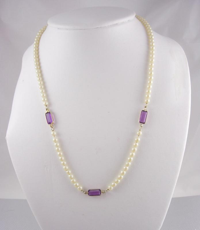 Vintage Pearl necklace amethyst necklace Communion necklace or wedding necklace mother of the bride bridesmaid necklace gift