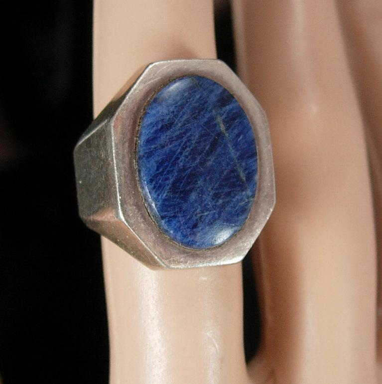 Vintage Sterling Lapis RIng Signed Ring modernist ring ladies Size 5 1/2 4th 5th 9th 24th 45h anniversary December Sagittarius Capricorn