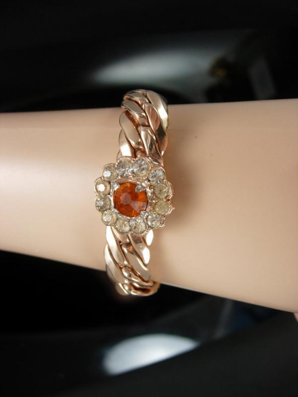 Vintage Rose gold bracelet topaz rhinestone florette  jewelry 1940s heavy curb link quality jewelry gold filled