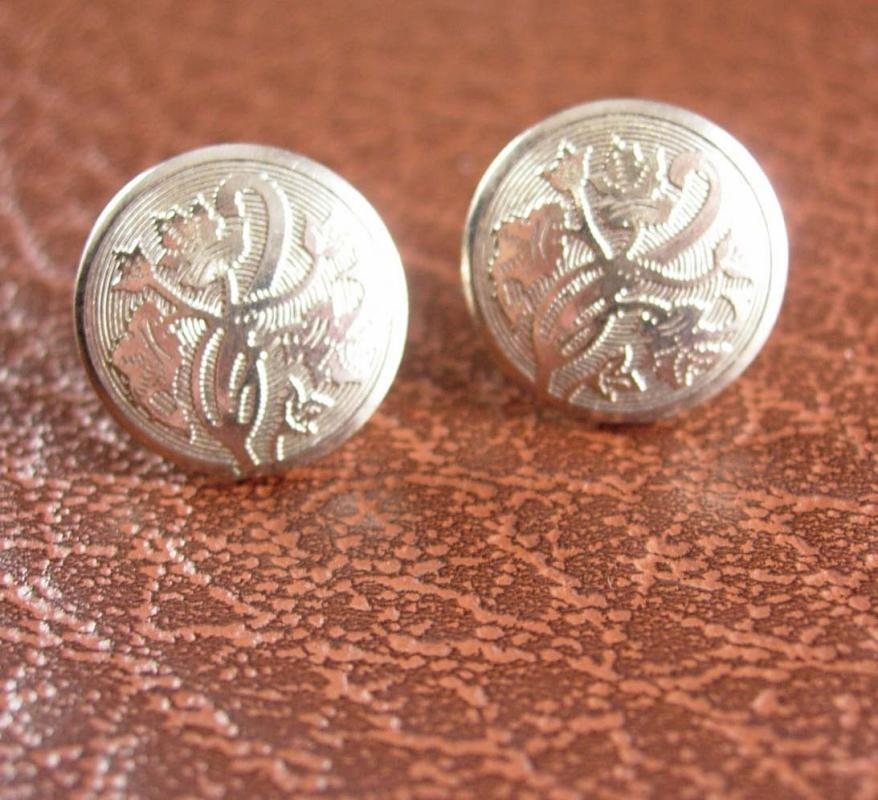 Sterling Earrings Art Nouveau Silver Screw Back Engine Turned Women's Fashion Vines and Curves