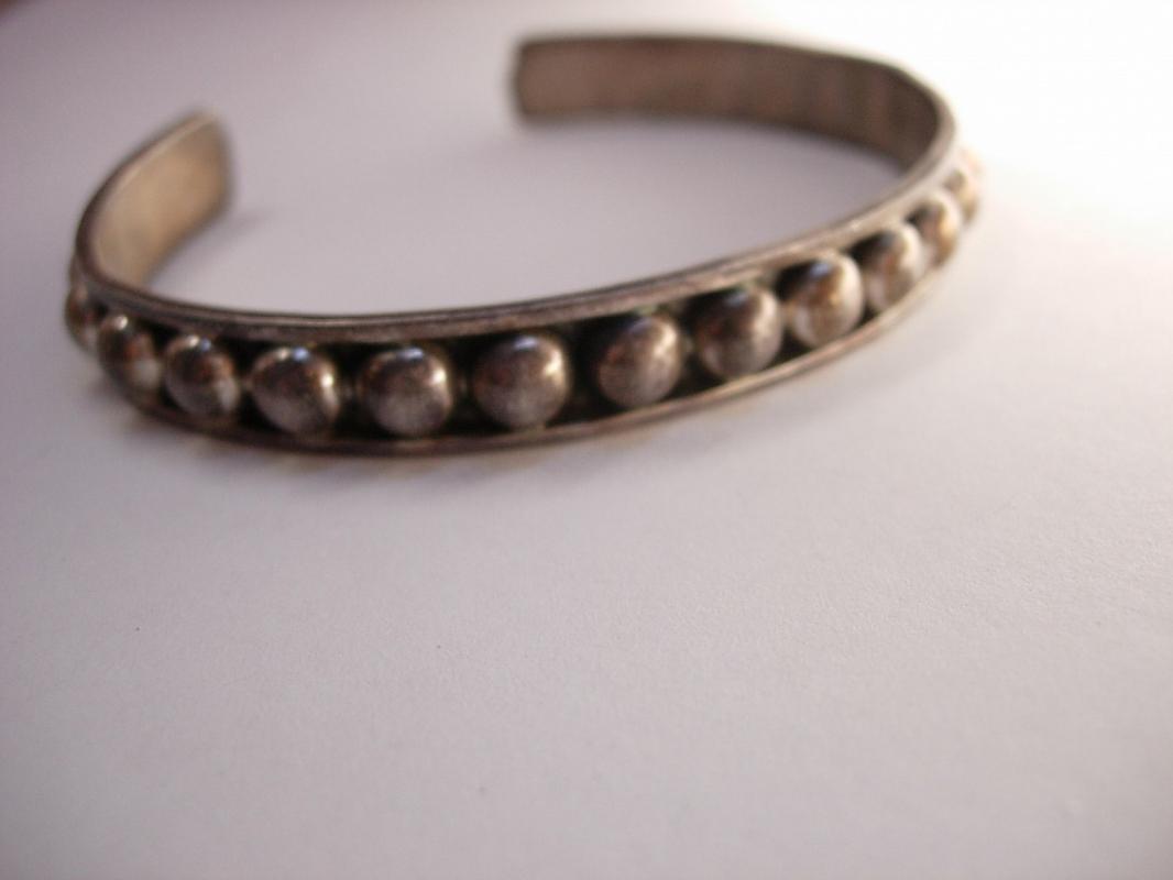Vintage sterling Industrial Bracelet Ball Cuff hallmarked Mexico Cuernavaca Steampunk silver hippie bangle