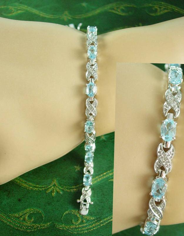 Stunning Blue topaz sterling bracelet 11.4 grams xo sweetheart 18th 65th anniversary gift December birthstone  jewelry sagittarius capricorn