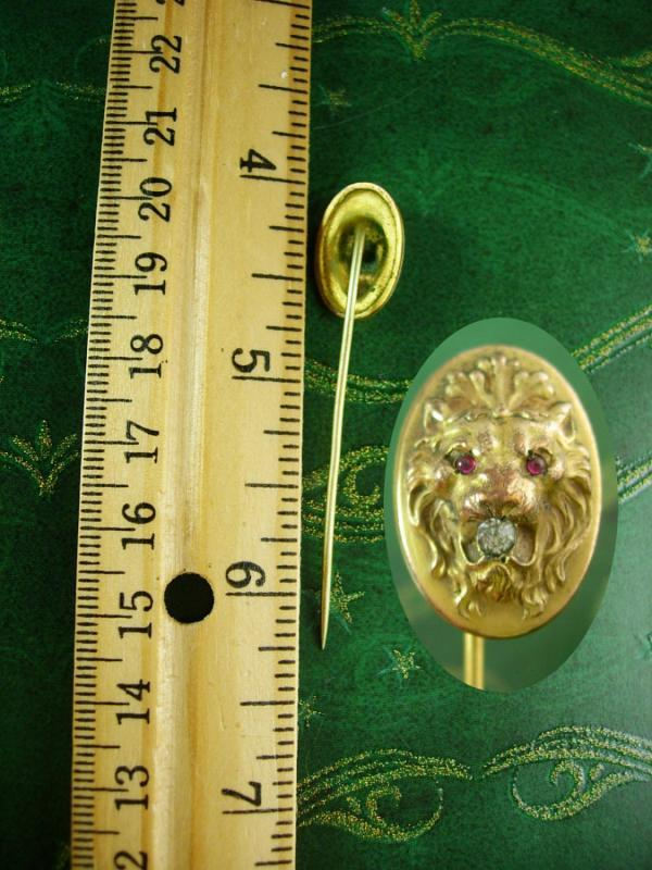 Antique fierce Lion STICKPIN ruby Jeweled Eyes Victorian stickpin paste rhinestone gold stickpin estate jewelry victorian crown lapel pin