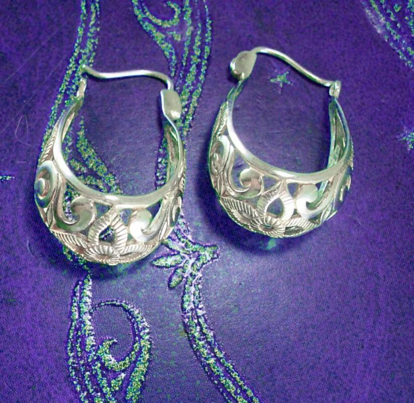 Sterling Hippie Earrings Vintage Pierced Ears for the GO GO Girl Jewelry silver hoop mediteranean style ladies teen fine jewelry 10 grams