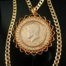 1974 Kennedy coin necklace Rhinestone necklace Pendant Collectors Gift mens jewelry Gold 19