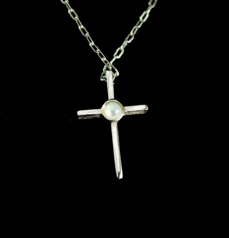 Sterling Religious necklace Cross vintage silver mother of pearl pendant christian jewelry baptism child gift